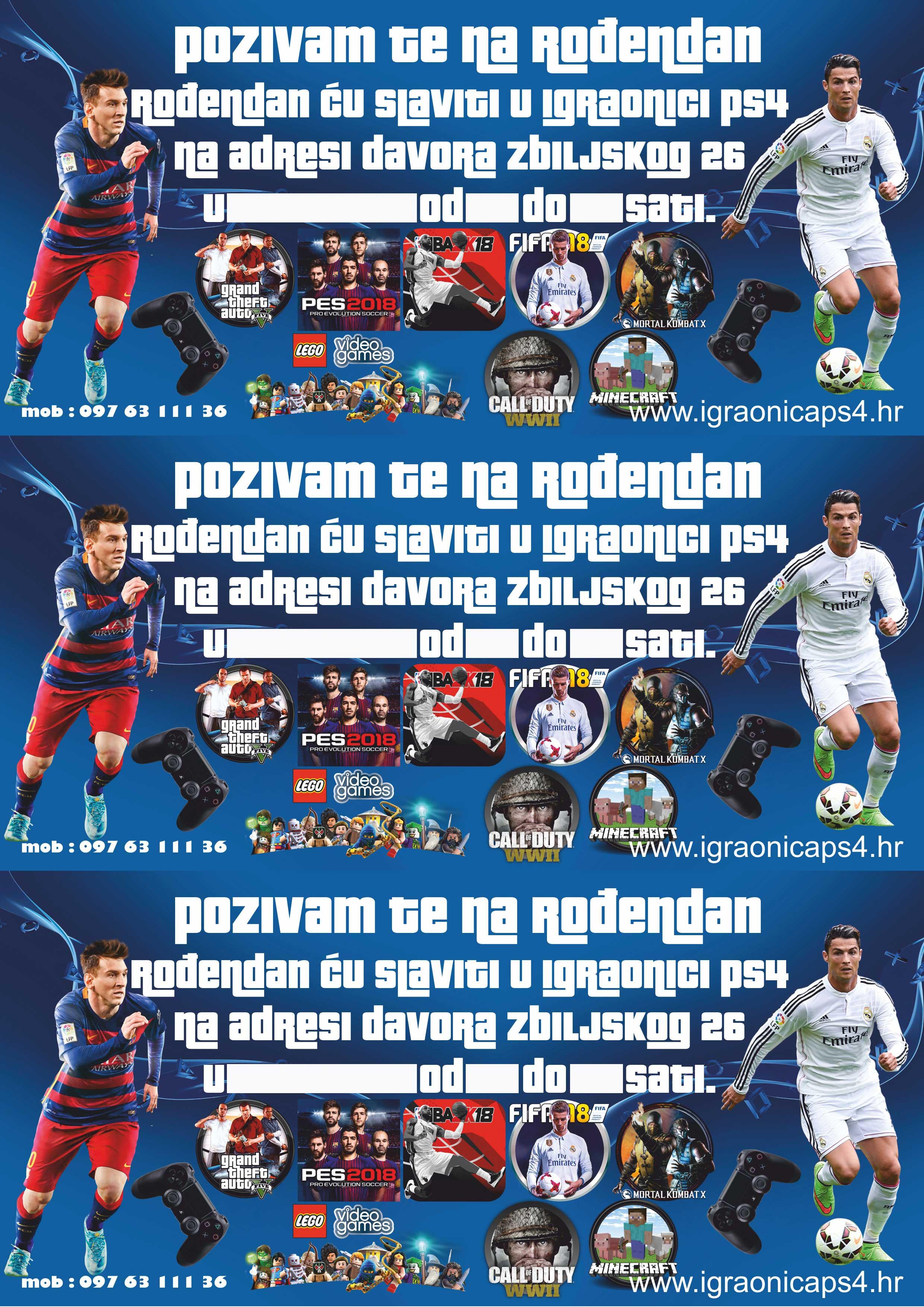 pozivnice za rođendan na hrvatskom Playstation Igraonica PS4 Borovje Zagreb   Dječji rođendani uz PS4  pozivnice za rođendan na hrvatskom